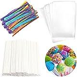 Lollipop Cake Pop Treat Bag Set Including 100pcs Parcel Bags, 100pcs Papery Treat Sticks, 100pcs Colorful Metallic Twist Ties