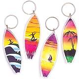 Baker Ross Portachiavi in plastica con tavola da surf (confezione da 8) - Tavola da surf colorata per bambini, da attaccare a