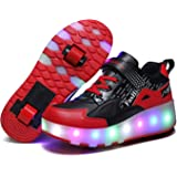Unisex Kids LED High-top USB Rechargeable Trainer Roller Skates Shoes with Single Double Wheels Retractable Lightweight Outdo