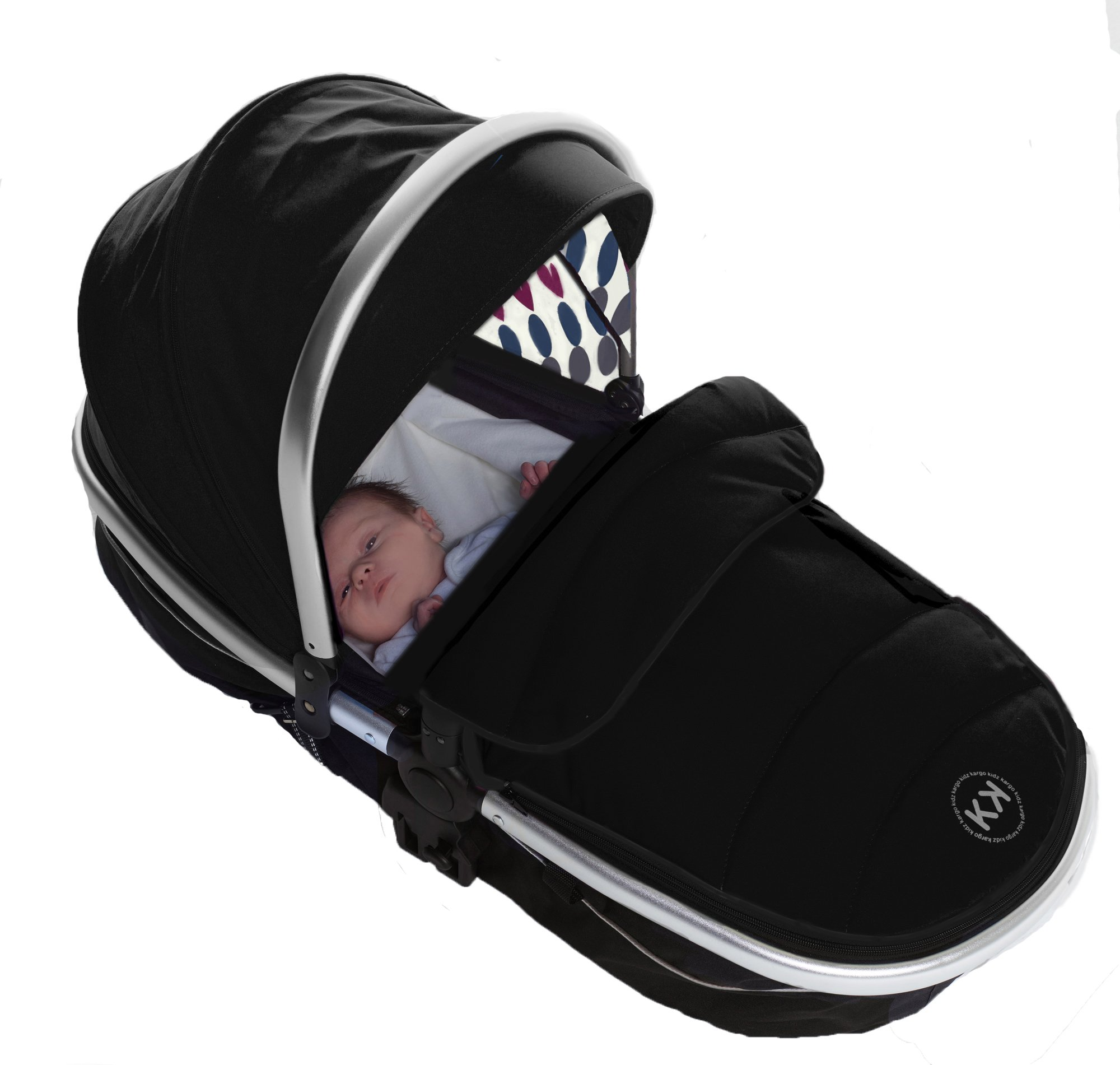 Duellette 21 Combo Twin Tandem Pushchair Baby Newborn carrycots Pram Travel system : 2 Pramette/seat units, 2 FREE Black footmuffs 2 Rain covers, Midnight Black by Kids Kargo Kids Kargo Demo video please see link https://www.youtube.com/watch?v=X_tEcnQ8O8E Compatible with car seats; Kids Kargo, Britax Baby safe or Maxi Cosi adaptors. Versatile. Suitable for Newborn Twins: Both carrycots have mattress and soft lining, which zip off. Remove lining and lid, when baby grows out of carrycot mode. Converts to a full sized seat unit, with 5 point harness. 3