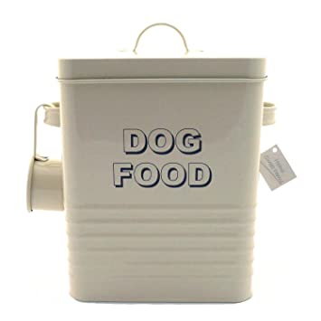 lesser and pavey 20cm home sweet home dog food storage container cream
