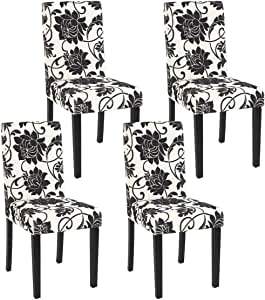 Mendler Lot de 4 chaises de séjour Littau, Tissu Jacquard, Pieds foncés