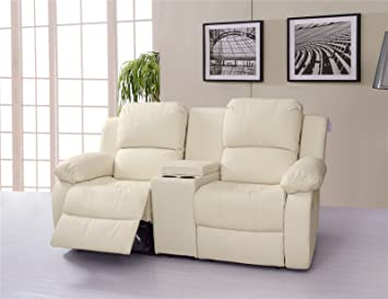 Lovesofas Valencia 2 Seater Bonded Leather Recliner Sofa With Drinking  Console   Cream