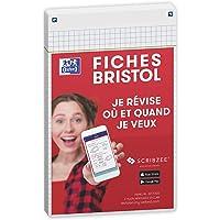 Oxford Révision 2.0 Lot de 50 Fiches bristol format 12, 5 x 20cm petits carreaux Recto/Verso - cadre Blanc