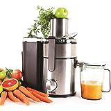 Duronic JE10 Centrifugeuse à jus de 1000W en inox pour fruits et légumes entiers – Carafe 1 L - Large ouverture de 85 mm, bec verseur anti-gouttes