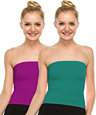 Fashion Line Cotton Lycra Tube Top for Girls/Women (Purple & Dark Green, Pack of 2)