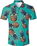 ALISISTER Hawaiihemd Herren 3D Drucken Lässig Button Down Strandurlaub Hemd Aloha Kurzarm Hawaii Hemd M-XXL