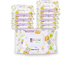 AMOMI Toallitas humedas compactas para Bebé y viajes, 7 Paquetes 504 Unidades, Toallitas húmedas Bebé, con Tapa, Testado derm