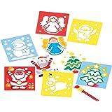 Baker Ross Lot de 6 pochoirs de Noël - Accessoires créatifs de Noël pour Enfants EF298