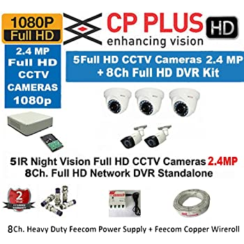 Buy cp plus 8 hd cctv cameras and 8ch hd dvr kit with 2 tb hard cp plus 8 channel dvr kit with 2 tb hard disk 3 pc 24mp dome camera 2 pc 24mp bullet camera 8 ch power supply with bncdc connectors wire roll fandeluxe