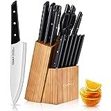 Couteaux de Cuisine, 15 Pièces Set de Couteaux Professionnel, Acier Inoxydable à Haute Teneur en Carbone et avec Un à Steak D
