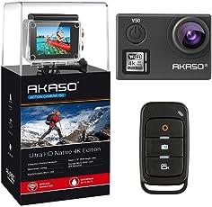AKASO V50 Ultra 4K/30fps 20MP Action Cam Wifi Action Kamera mit Bildstabilisierung, 30M Unterwasserkamera mit Fernbedienung, 170°Weitwinkel, 2 Wiederaufladbare Akku,Zubehör