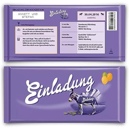 Einladungen (20 Stück) Zur Hochzeit Lila Schokolade Milch Schoko Esel  Einladungskarten: Amazon.de: Bürobedarf U0026 Schreibwaren