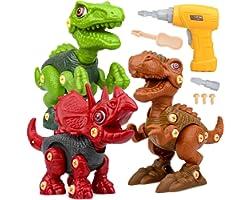 Dinosauri Giocattolo con Trapano Giocattolo, Smontaggio Costruzioni includono Tyrannosaurus Rex, Velociraptor e Triceratops p