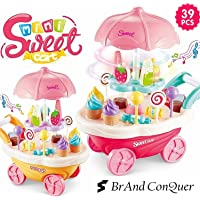 Brand Conquer Luxury Sweet Shopping Battery Operated 39 Pcs Ice Cream Trolley Pretend Roll Plastic Play Set with LED Lights and Music Learning and Educational Toy for Kids (39 Pcs)