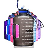 ETDW Gallon BPA Free Water Bottle with Time Marker and Straw, 3.78/2.2 Litre Big Water Jug with Handle Leakproof Daily…