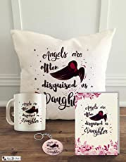 "ALDIVO® Gift for Daughter | Birthday Gift for Daughter | Gift For Daughter in Law | Daughter's Gift | Combo of 4 Printed Gifts (12"" x 12"" cushion cover with filler + Printed coffee mug +Greeting Card + Printed Key Ring)"