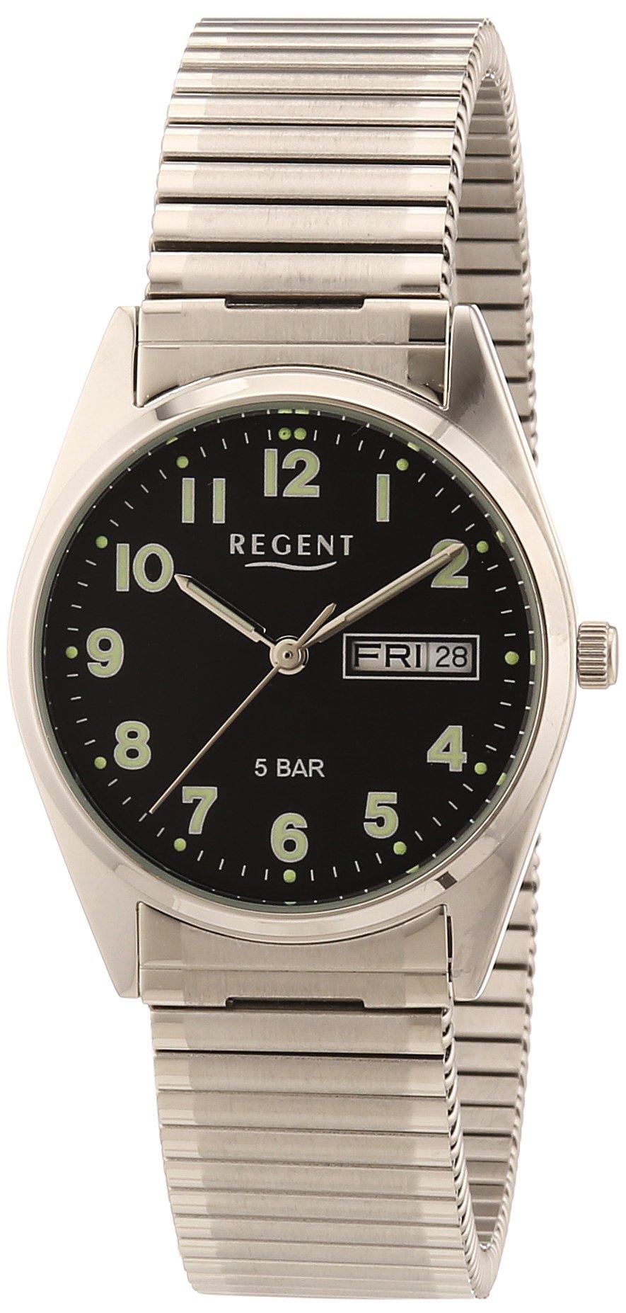 Regent 11310028 - Reloj de caballero de cuarzo, correa de acero inoxidable color plata