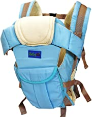 BabyGo Soft Adjustable 4-in-1 Baby Carrier with Comfortable Head Support and Buckle Straps (Universal Size, Sky Blue)