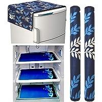 Factcore Premium Quality Combo of Exclusive Decorative Kitchen Combo Fridge Top Cover(Blue Leaf), Fridge Handle Covers (Blue Leaf)+ 3 Fridge Mats (Blue Leaf), 6 Piece Set)