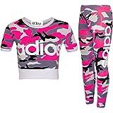 GUBA Adios - Conjunto de dos piezas de top corto y leggings de camuflaje atlético 7-13 años para niñas