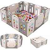 SINCHER Foldable Baby Playpen 14 Panel Foldable Thicken Playpenwith Storage Bag, Door with Saf-et-y Lock, 14 Rubber Suction C