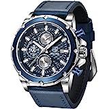 BENYAR Hommes Analogique 3ATM Chronographe Imperméable Montre à Quartz avec Bracelet en Cuir Sport Business Montres pour Les