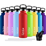 Grsta Botella Agua Acero Inoxidable - Termo para Agua Fria 750ml/Rojo Botella Termica sin BPA Aislamiento de Vacío de Doble P