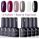 Vernis Gel Semi Permanent - Y&S UV LED Vernis à Ongles Gel Soak Off Débutant Kit 6 Couleurs Plus Top et Base Coat, 8ml Chaque Flacon, Lot Gradiant