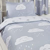 Price Right Home Happy Clouds Design Junior Duvet Cover Set & Matching Curtains 66in x 54in (168cm x 137cm)
