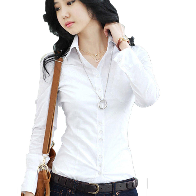 Women Shirts Ladies Blouses Long Sleeve Formal Top Work Office ...