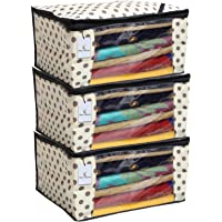 Kuber Industries™ Polka Dots Saree Cover/Regular Cloth Bag/Wardrobe Organiser Set of 3 Pcs (Ivory)