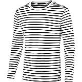sourcing map Camiseta para Hombres Cuello Redondo Mangas Largas Estampado de Rayas Negro Y Blanco 48
