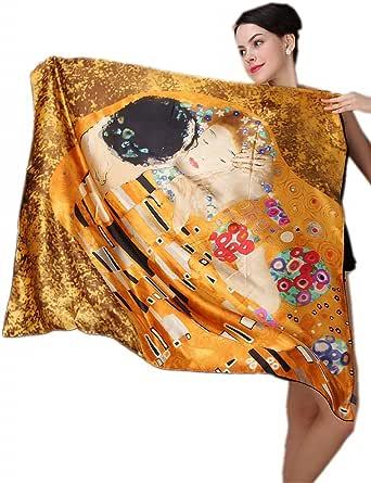 prettystern Foulard Seta XXL spessore 16 Mm Sciarpa di Seta Quadrata Bordi Arrotolati a Mano Arte Nouveau Gustav Klimt
