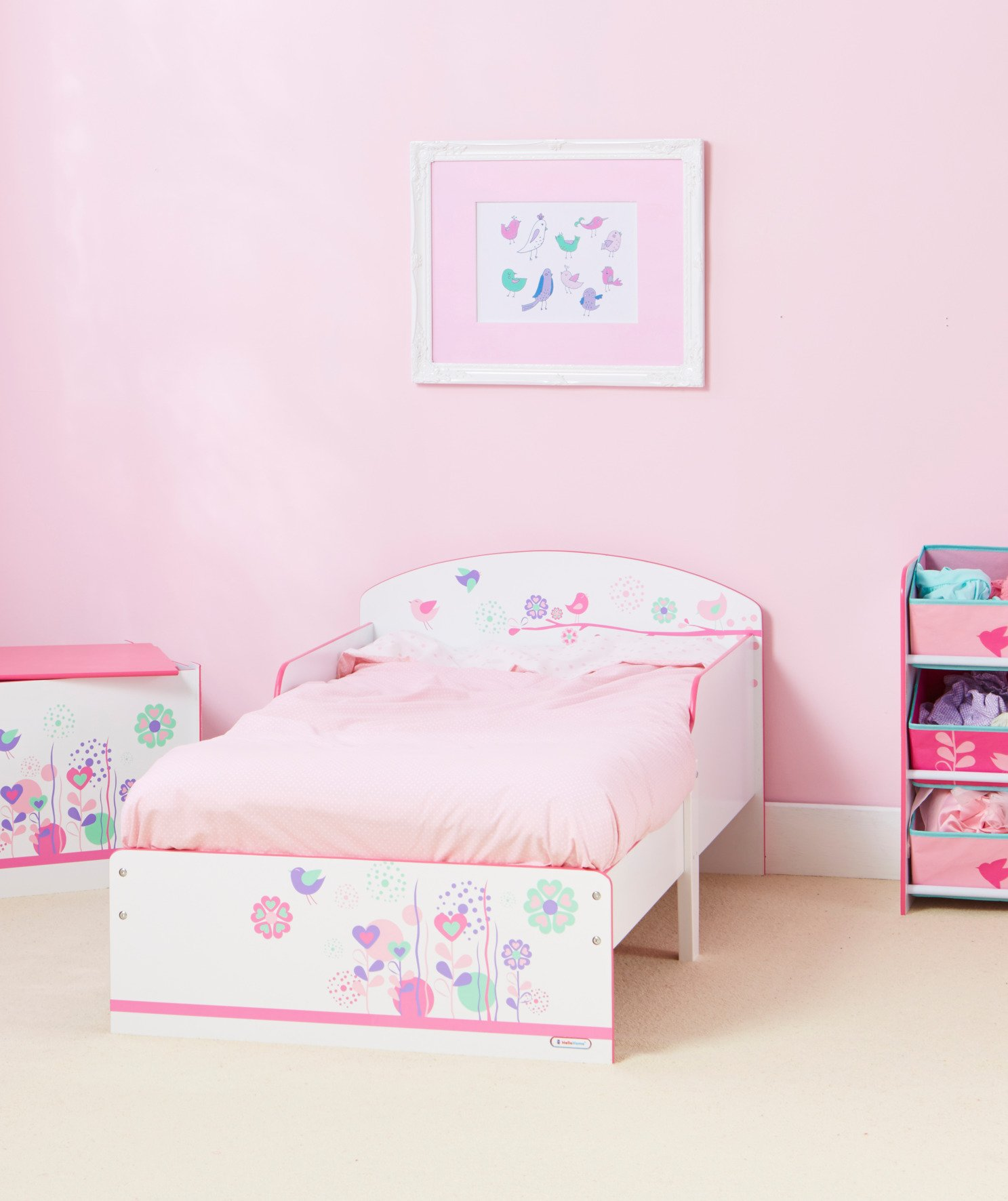 Flowers and Birds Kids Toddler Bed by HelloHome  Ideal transition from cot to bed - make the move to her first big bed magical with the Flowers and Birds toddler bed from HelloHome Takes cot bed size mattress - 140cm (l) x 70cm (w). Mattress not included. Assembled size (h)59, (w)77, (l)142cm Suitable for 18 months to 5 years this pink kids' bed is perfect for your little toddler! 4
