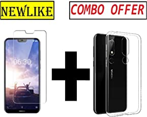 Newlike Nokia 6.1 Plus Transparent Back Cover Case and Tempered Glass Combo Pack - for Nokia 6.1 Plus