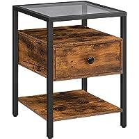 HOOBRO Table de Chevet avec Tiroir, Table d'Appoint, Dessus en Verre Trempé, Table en Verre Noir, Table de Nuit avec…