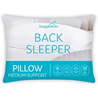Snuggledown Back Sleeper White Pillow Medium Support Designed for Back and Side Sleepers Bed Pillows