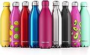 Proworks Borraccia Termica 1 litro in Acciaio Inox, Senza BPA Bottiglia per l'Acqua Sottovuoto in Metallo per Bevande Calde p