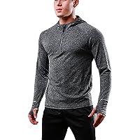 FELiCON Men's Zip Long Sleeve Hooded T-Shirt Quick Dry Warm-up Sweatshirt Running Jogging Top Tee Mens Clothing Base…
