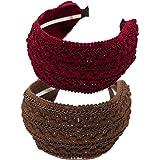 KizBruo - Cerchietto per capelli in tessuto retrò, stile vintage, realizzato a mano, 2 pezzi, per donne e ragazze (B1B3)