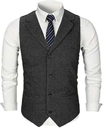 GRMO Men Pockets Solid Color Lapel Single-Breasted Slim Suit Vest Waistcoat