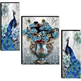 SAF Set of 3 Couple Peacock with Flower Pot UV Textured self adeshive Home Decorative Painting (multicolour, 18 Inch X 12 Inc