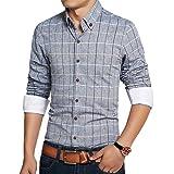 Elonglin Mens Casual Cotton Shirt Long Sleeve Button Down Shirts Plaid