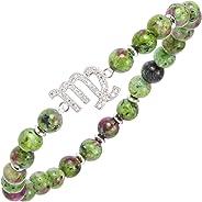 Zodiac Virgo Bracelet with Ruby Zoisite Stone Beads, One Size