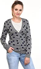 MansiCollections Grey Blue Polka dot Cardigan for Women