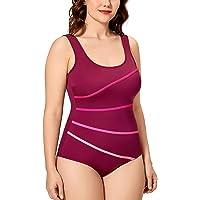 Delimira Women's One Piece Sexy Striped Slimming Swimsuit Beachwear