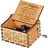 OMZGXGOD Caja de música de Madera manivela, Caja de Música de Manivela de Madera Caja Musical Tallada a Mano del Tema Retro M
