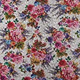 Fabulous Fabrics Strickstoff Jacquard Rosen – Silber — Meterware ab 0,5m — Zum Nähen von Jacken, Kleidern und Pullovern