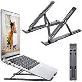 OUGEP Support Ordinateur Portable, Support PC Portable Ventilé en Aluminium Réglable, Refroidisseur Ergonomique Compatible av